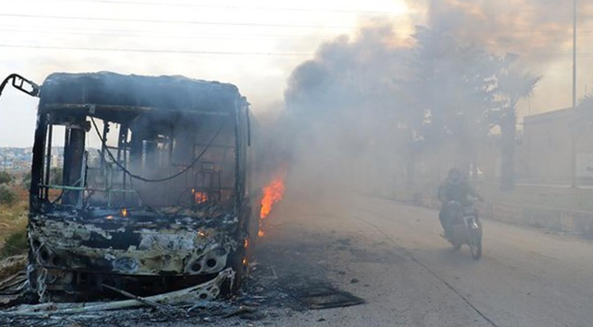 Buses burned, attacked en route to evacuate Syrian villages