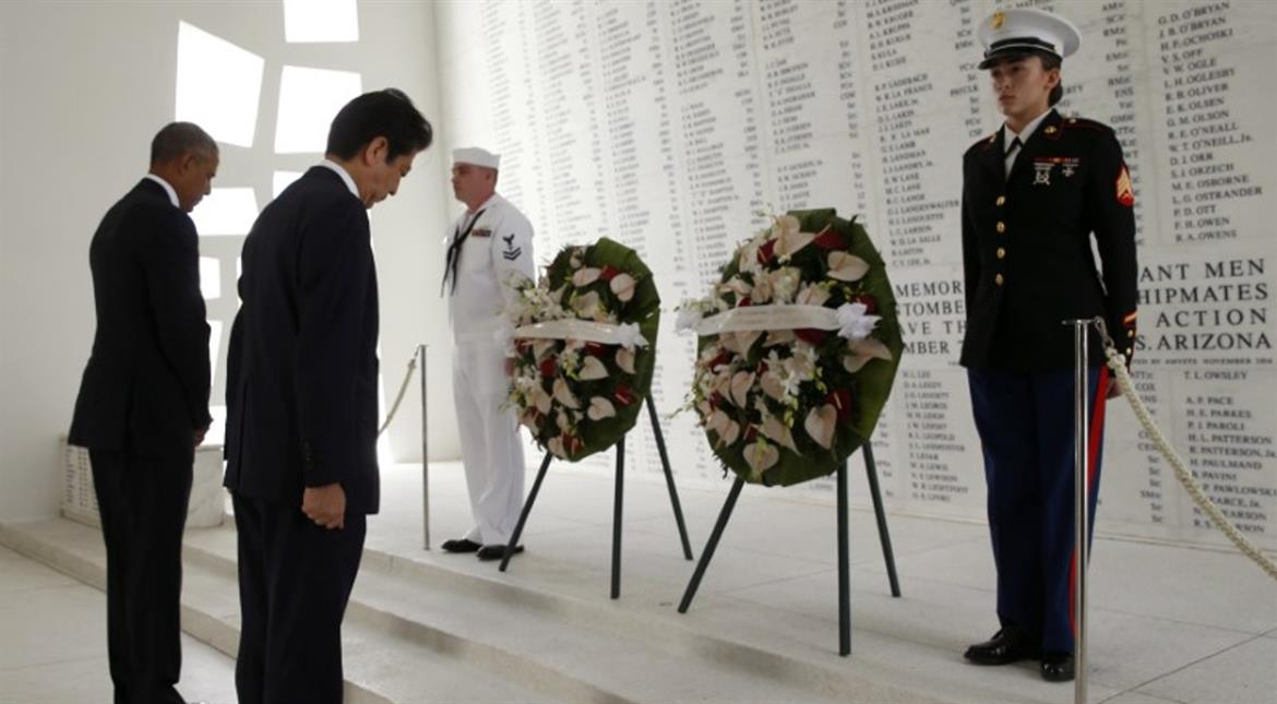 At Pearl Harbour, Abe pledges Japan will never wage war again